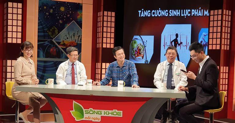 Ảnh hậu trường lương y Đỗ Minh Tuấn, Diễn viên Lê Bá Anh tham gia Sống khỏe mỗi ngày VTV2