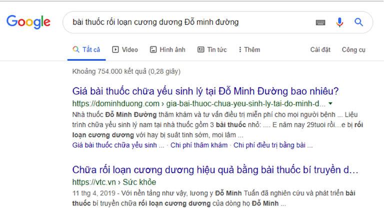 Google tìm kiếm Đỗ Minh Đường
