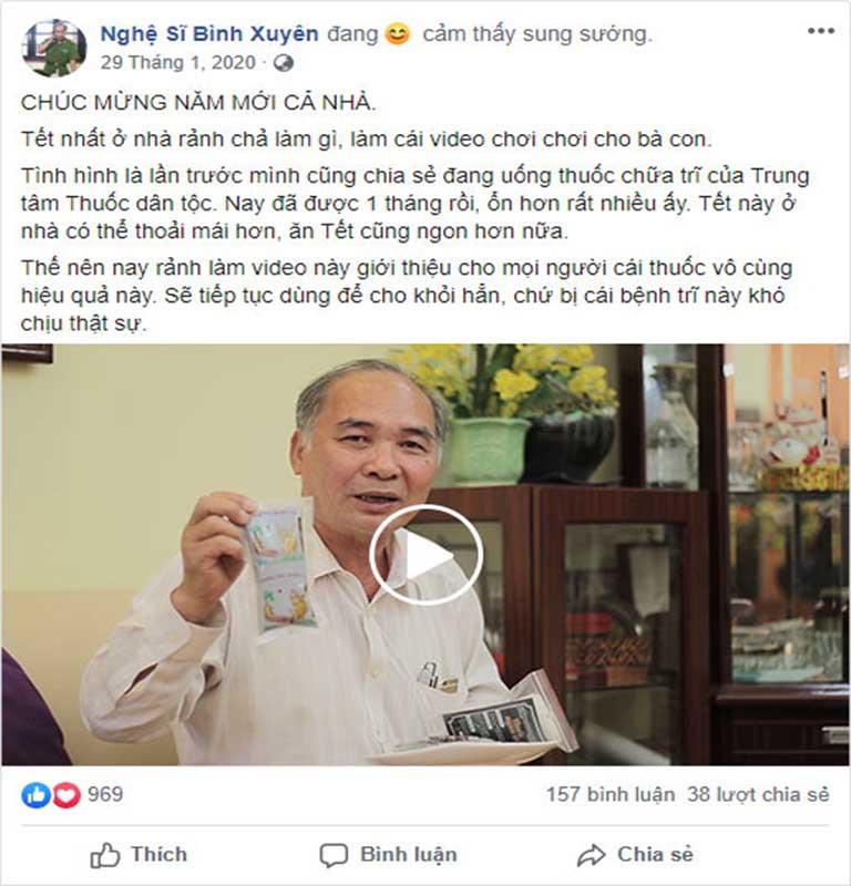 Nghệ sĩ Bình Xuyên chia sẻ về hiệu quả sử dụng Thăng trĩ Dưỡng huyết thang để điều tri bệnh trĩ