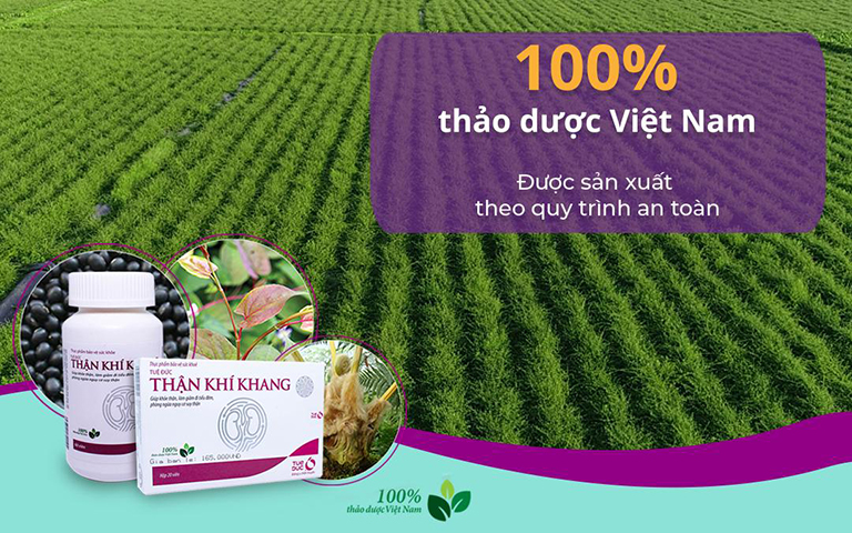 Thực phẩm chức năng Thận Khí Khang được chiết xuất 100% từ các thảo dược có sẵn trong tự nhiên được trồng tại Việt Nam