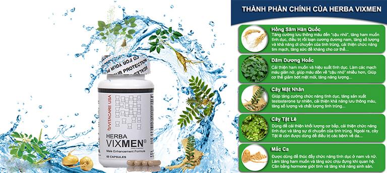 Viên uống Herba VixMen được chiết xuất 100% từ các thảo dược quý có sẵn trong tự nhiên