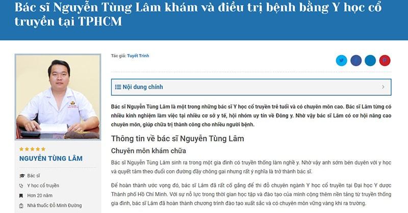 Bác sĩ Tùng Lâm được báo chí đưa tin là nổi tiếng tại Hồ Chí Minh