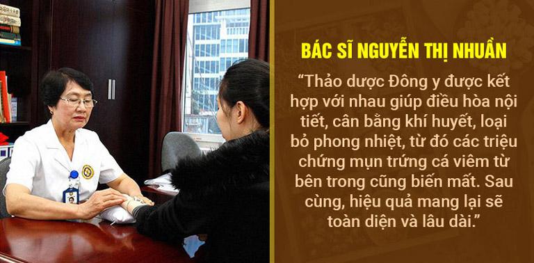 Bác sĩ Nguyễn Thị Nhuần đánh giá về phương pháp loại bỏ mụn bằng Đông y
