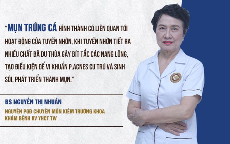 Bác sĩ Nguyễn Thị Nhuần đánh giá về nguyên nhân gây mụn trứng cá bọc mủ