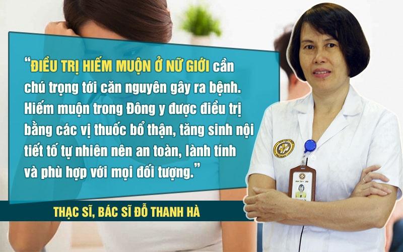 Quan điểm của bác sĩ Thanh Hà trong điều trị hiếm muộn ở nữ bằng Đông y