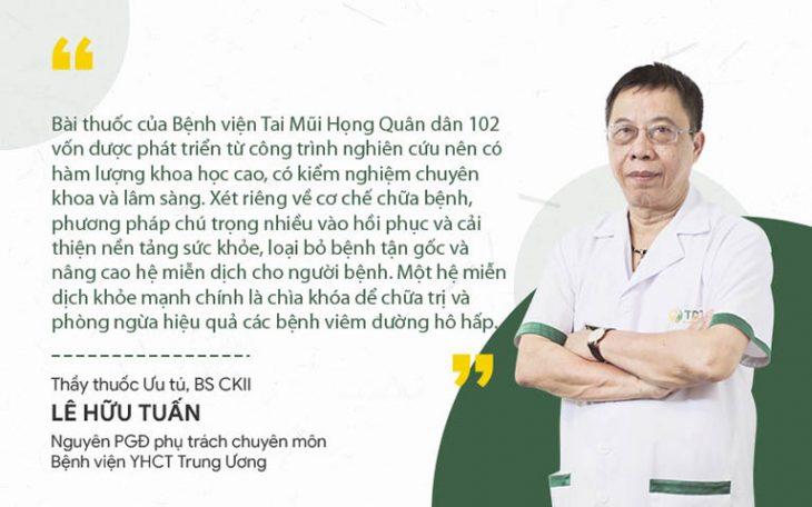 Nhận định của TTUT Lê Hữu Tuấn về Thanh hầu bổ phế thang