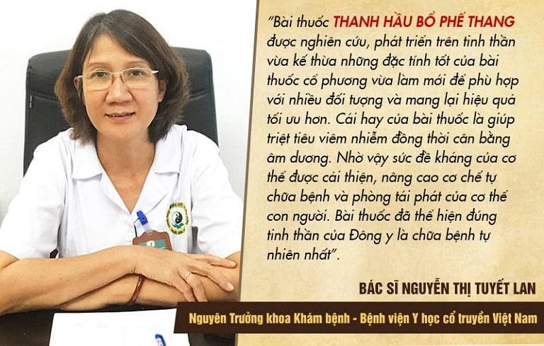 Bác sĩ Tuyết Lan đánh giá về Thanh hầu bổ phế thang