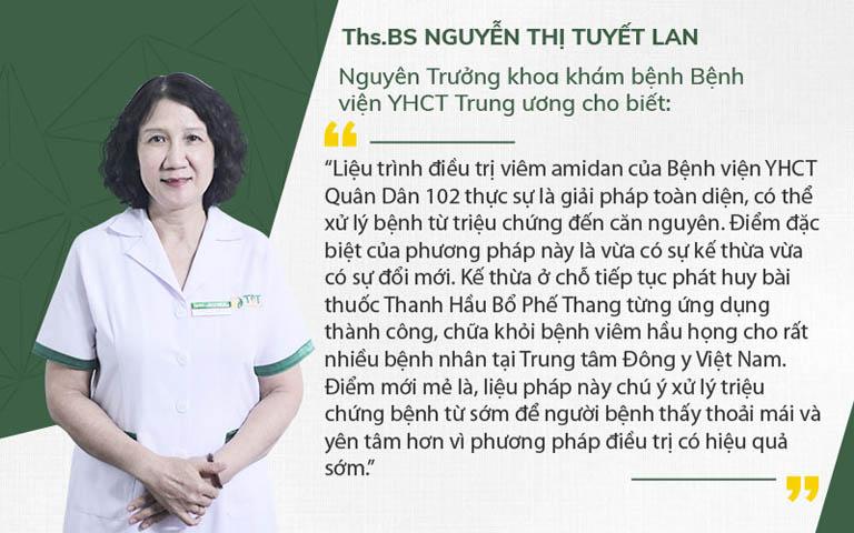 Bác sĩ Tuyết Lan nhận xét liệu trình điều trị viêm amidan Quân dân 102