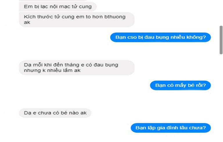 Bệnh nhân trao đổi vấn đề với bác sĩ Hà qua tin nhắn
