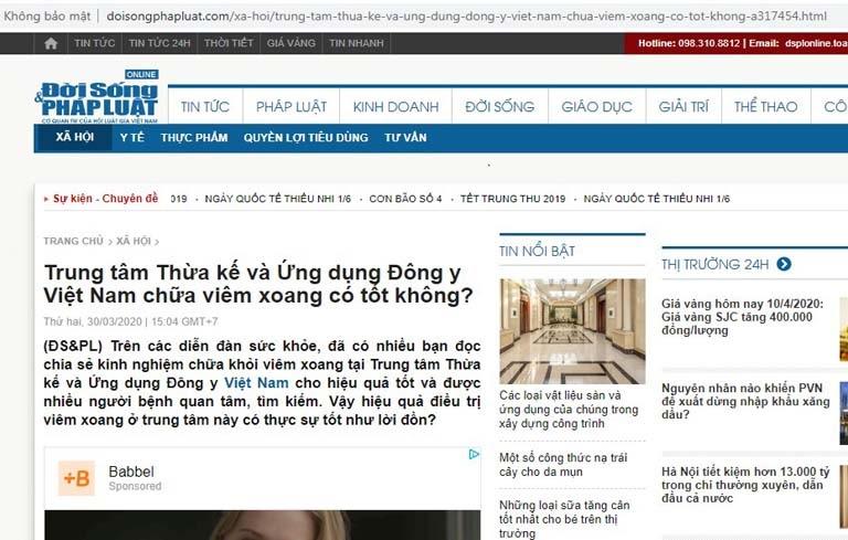báo chí đưa tin về Tiêu xoang linh dược thang