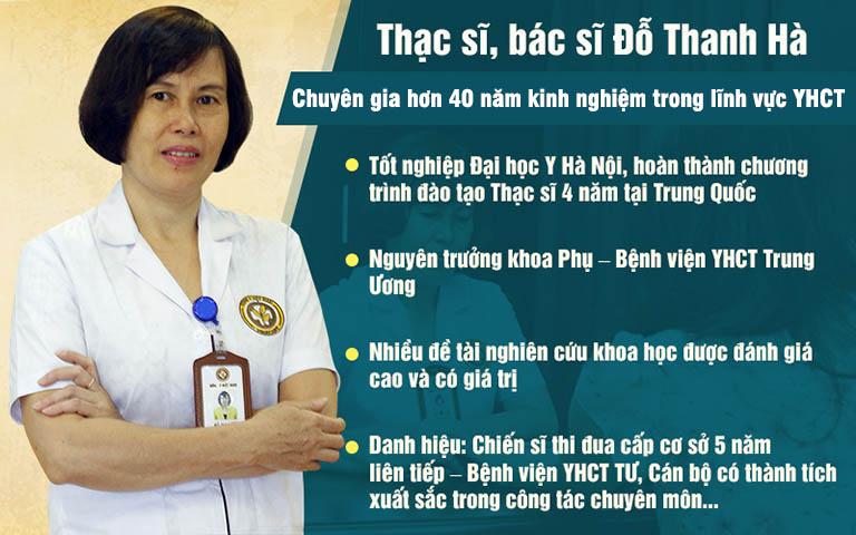 Bác sĩ Thanh Hà là chuyên gia hàng đầu về Sản Phụ khoa Đông y với hơn 40 năm kinh nghiệm