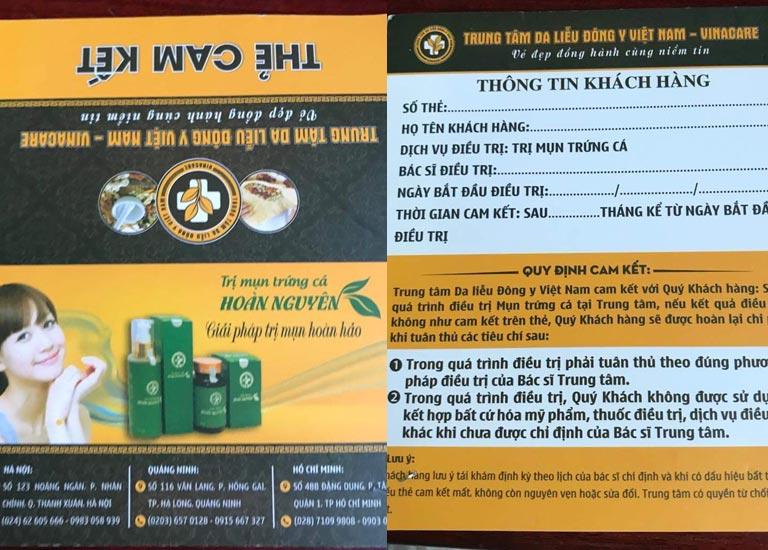 Thẻ cam kết với khách hàng trị mụn của Trung tâm Da liễu Đông y Việt Nam