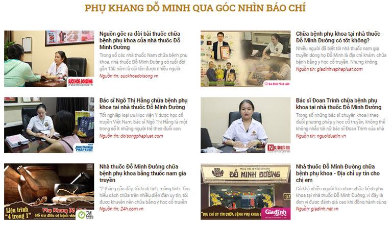 Một số bài báo đưa tin về bài thuốc Phụ khang Đỗ Minh cũng như dich vụ khám, điều trị bệnh phụ khoa tại Đỗ Minh Đường