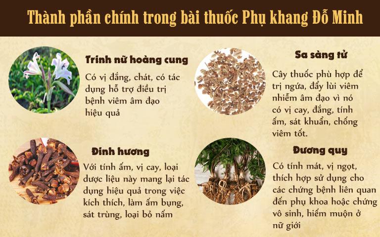 4 loại thảo dược chính trong bài thuốc Phụ khang Đỗ Minh