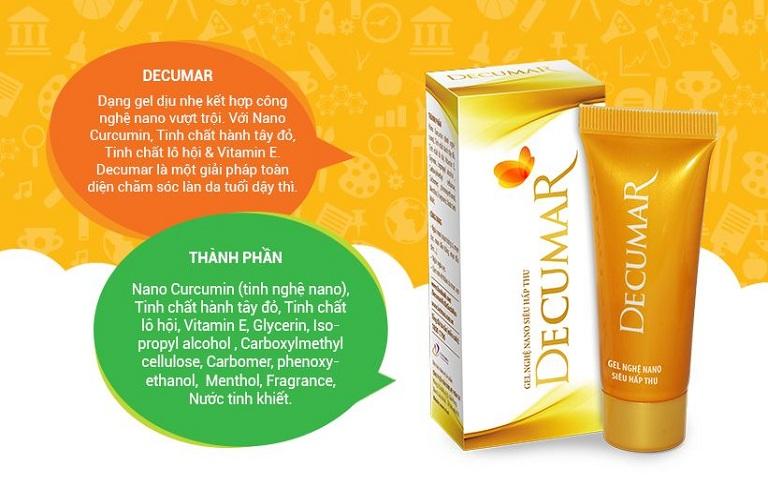 Thuốc trị mụn Decumar chứa nhiều thành phần tự nhiên giúp trị mụn an toàn