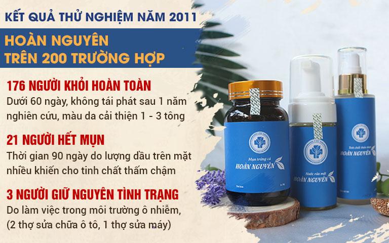 Kết quả thử nghiệm Bộ sản phẩm Mụn trứng cá Hoàn Nguyên