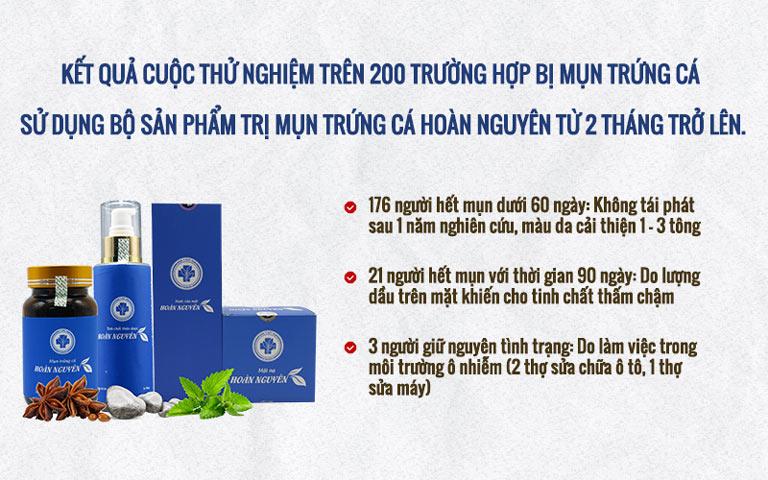Kết quả cuộc thử nghiệm của Bộ sản phẩm Trị Mụn trứng cá Hoàn Nguyên