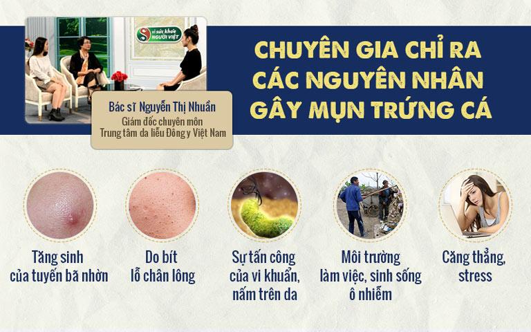 """Bác sĩ Nhuần nói về các nguyên nhân gây mụn trứng cá trong chương trình """"Vì sức khỏe người Việt"""" VTV2"""