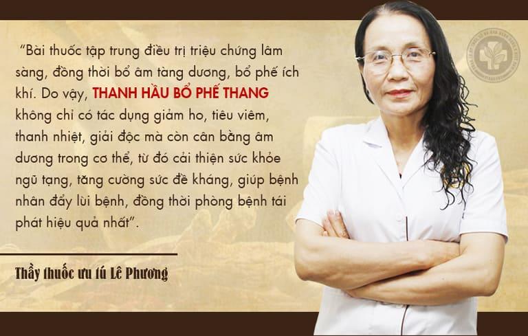 Chia sẻ của bác sĩ Phương về bài thuốc Thanh hầu bổ phế thang chữa viêm họng