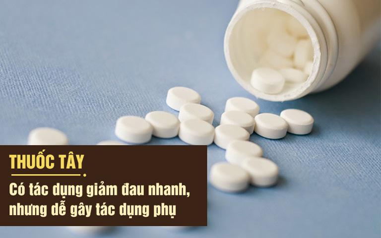 Thuốc Tây y giảm đau nhanh nhưng có thể gây tác dụng phụ