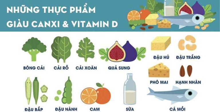 Thực phẩm giàu vitaminb D và canxi người thoái hóa khớp gối nên bổ sung vào chế độ ăn uống