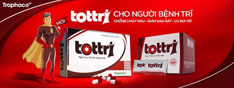 Tottri là sản phẩm hỗ trợ điều trị bệnh trĩ, giúp cải thiện tình trạng ngứa ngáy, đau rát, chảy máu búi trĩ