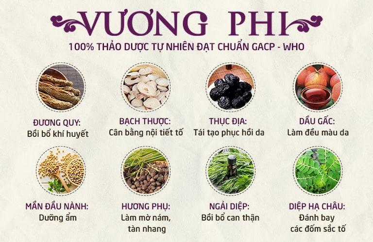 Vương Phi được bào chế từ nhiều loại thảo dược tự nhiên, đảm bảo an toàn, lành tính