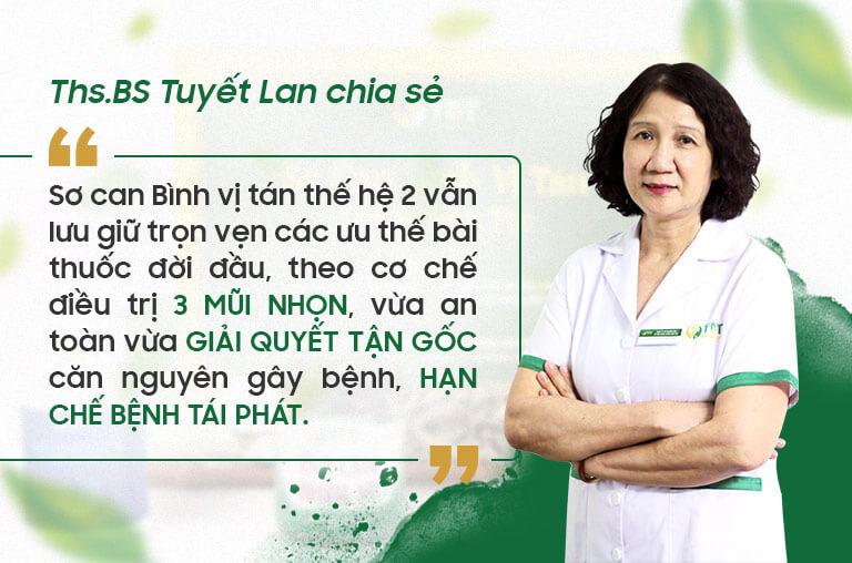 BS Tuyết Lan đưa ra nhận xét về bài thuốc