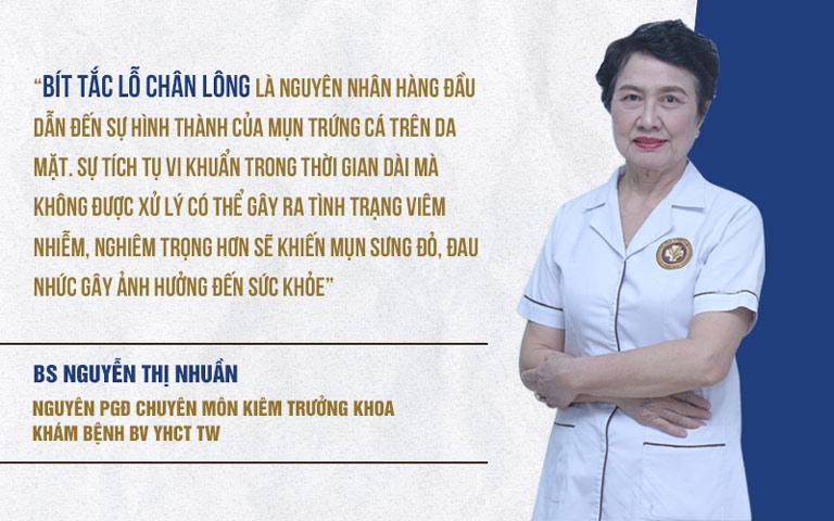 Bác sĩ Nguyễn Thị Nhuần giải đáp về nguyên nhân gây mụn trứng cá viêm sưng trên da mặt