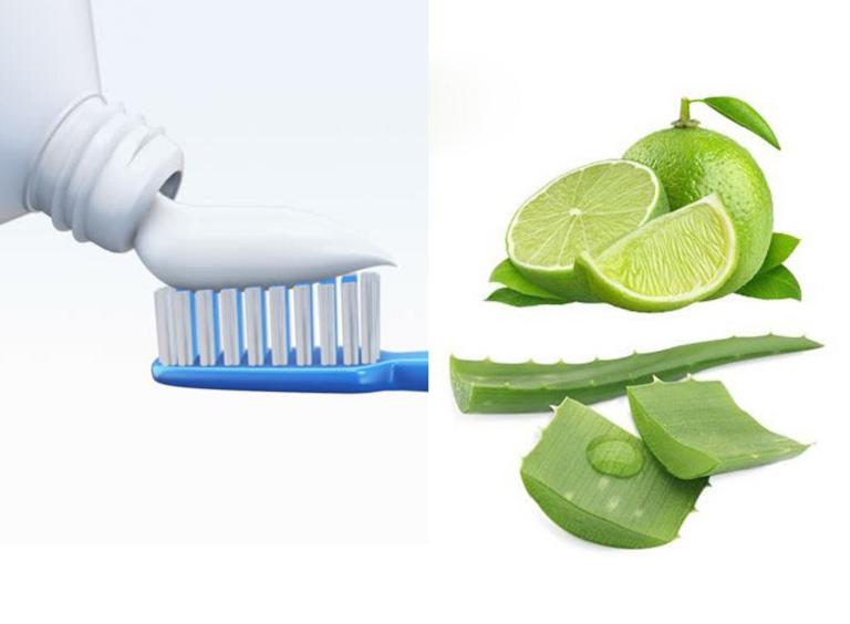 Kết hợp kem đánh răng, chanh và nha đam để loại bỏ thâm nám