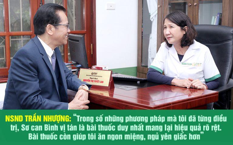NSND Trần Nhượng cũng là một trong số hàng ngàn bệnh nhân đã điều trị thành công bệnh dạ dày tại Trung tâm Thuốc dân tộc