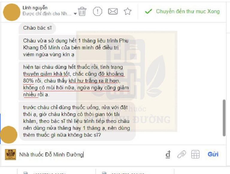 Phản hồi của người bệnh qua hệ thống tin nhắn nhà thuốc Đỗ Minh Đường