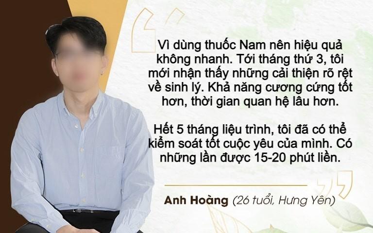 Anh Hoàng chia sẻ về hiệu quả dùng thuốc tại Đỗ Minh Đường