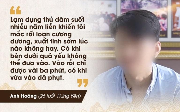 Lạm dụng thủ dâm khiến anh Hoàng mắc yếu sinh lý từ khi còn trẻ