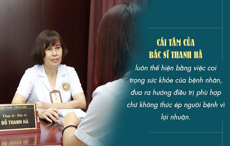 Bác sĩ Thanh Hà luôn nhận được sự tin yêu của bệnh nhân không chỉ bởi phương pháp điều trị hiệu quả mà còn nhờ cái tâm, cái đức trong mỗi ca điều trị bệnh hậu sản