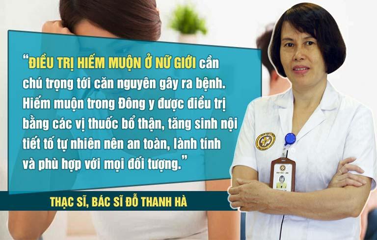 Bác sĩ Đỗ Thanh Hà là người trực tiếp thăm khám và điều trị hiếm muộn tại trung tâm