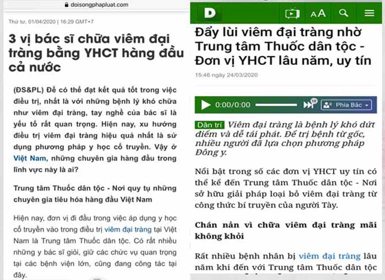 Báo chí đưa tin công nhận về phương pháp chữa bệnh đại tràng tại Thuốc dân tộc