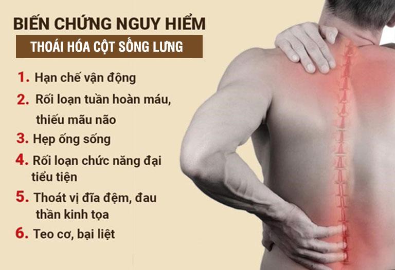 Thoái hóa cột sống lưng có thể gây ra rất nhiều biến chứng nguy hiểm
