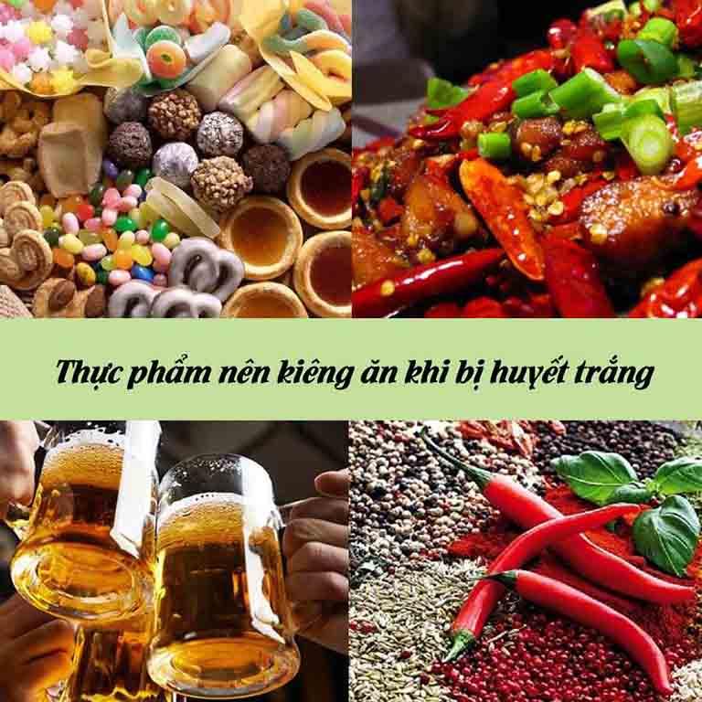 Đồ ăn cay nóng, chứa nhiều đường hay đồ uống có cồn khiến huyết trắng ra nhiều và có mùi hơn