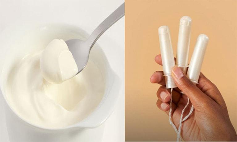 Dùng sữa chua với tampon chữa nấm âm đạo