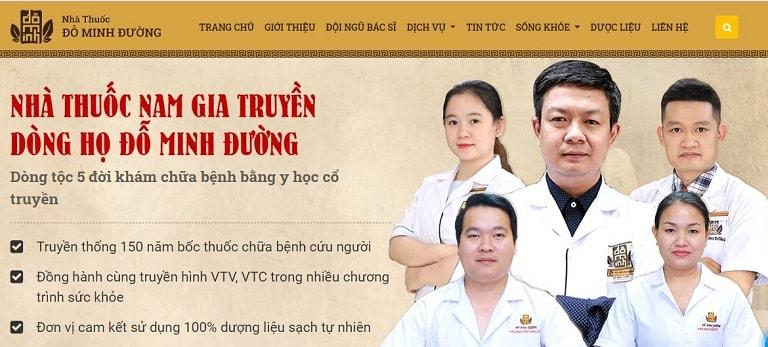 Hình ảnh website chính thức và đội ngũ thầy thuốc YHCT của Đỗ Minh Đường