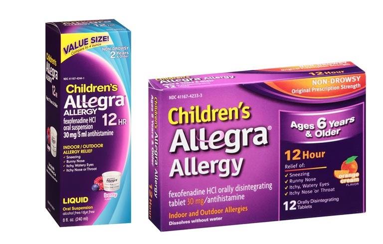 Thuốc Allegra trị ngạt mũi cho trẻ em có hai dạng thuốc siro và thuốc viên