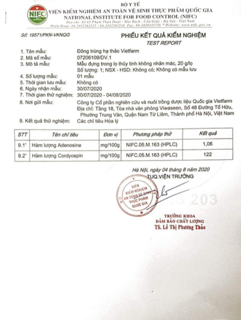Đông trùng hạ thảo Vietfarm được Bộ y tế kiểm định chất lượng kỹ lưỡng