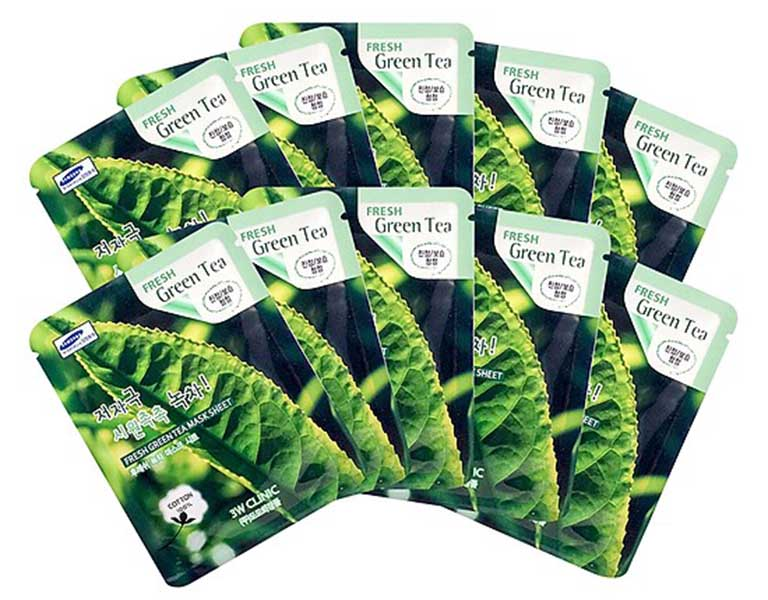 Mặt nạ giấy 3W Clinic Fresh Greentea được chiết xuất từ trà xanh giúp đẩy lùi tình trạng sưng viêm do mụn