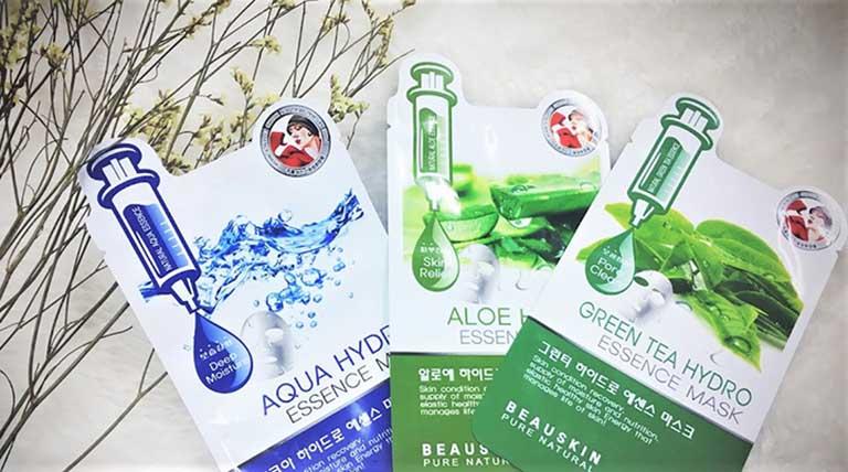 Mặt nạ giấy Green Tea Hydro Essence Mask của Hàn Quốc có tác dụng làm sạch da và điều trị mụn