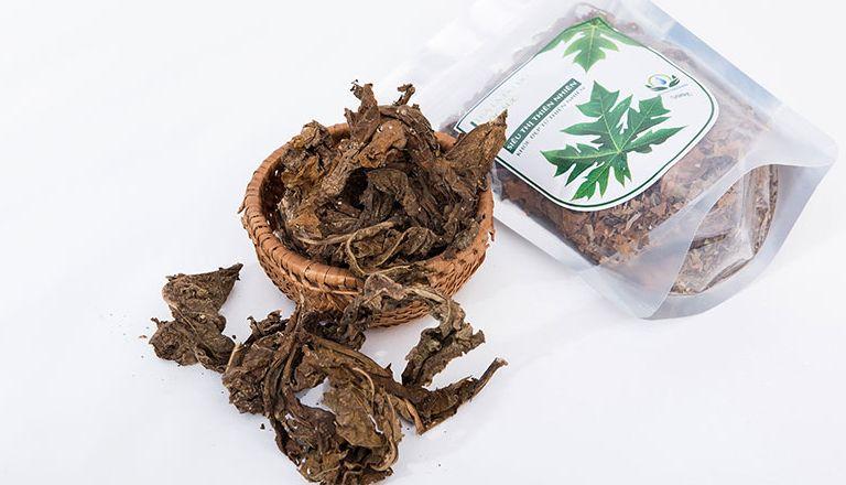 Sử dụng nước lá đu đủ khô để điều trị bệnh đau dạ dày
