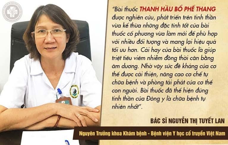 Bác sĩ Tuyết Lan đánh giá cao bài thuốc Thanh hầu bổ phế thang