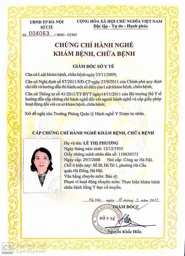 Chứng chỉ hành nghề của bác sĩ Lê Phương