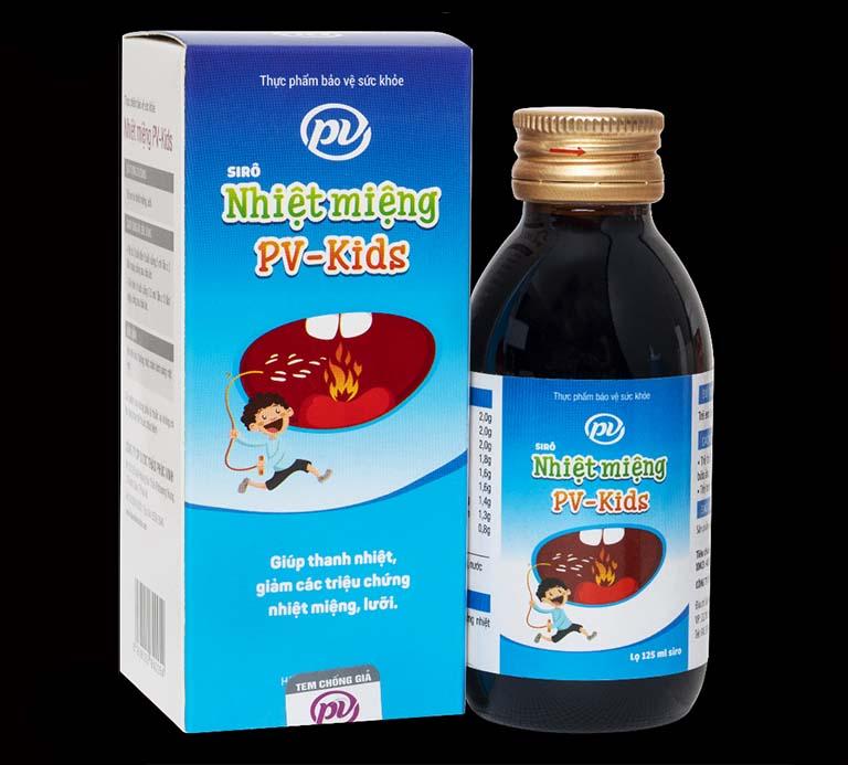 Sản phẩm Nhiệt miệng PV Kids được bào chế từ các thảo dược lành tính, an toàn khi sử dụng điều trị viêm lở loét miệng lưỡi cho trẻ em