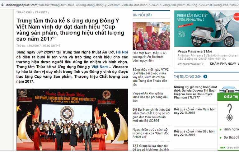 Báo chí đưa tin về thành tích của Trung tâm Thừa kế & Ứng dụng Đông y Việt Nam
